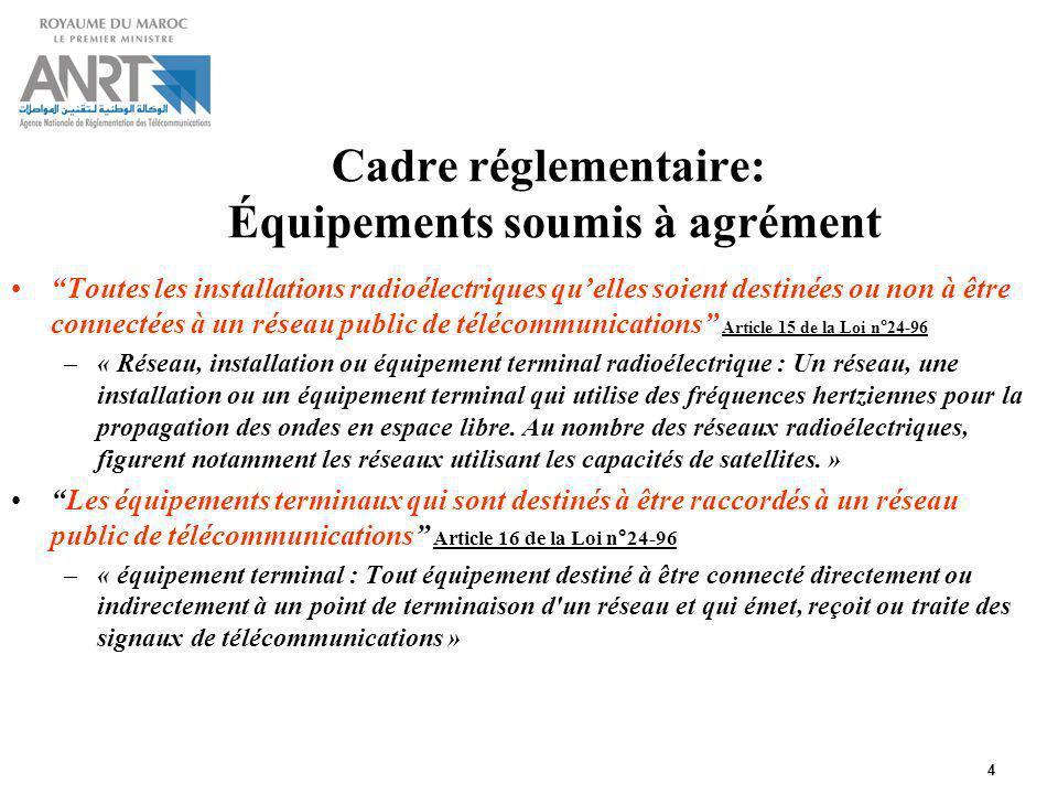 Cadre réglementaire: Équipements soumis à agrément