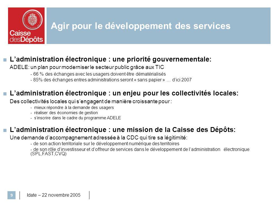 Agir pour le développement des services
