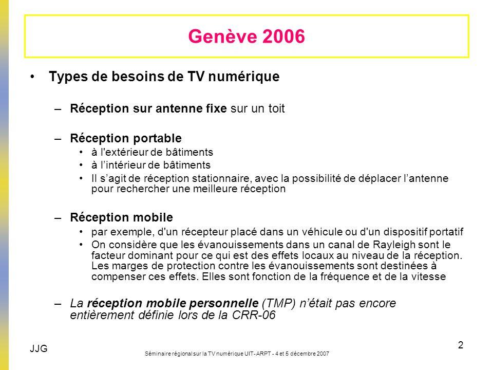 Genève 2006 Types de besoins de TV numérique
