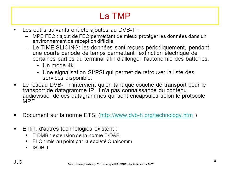 La TMP Les outils suivants ont été ajoutés au DVB-T :