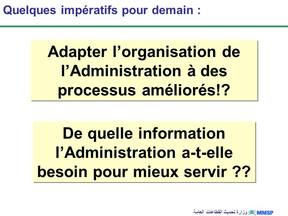 Adapter l'organisation de l'Administration à des processus améliorés!