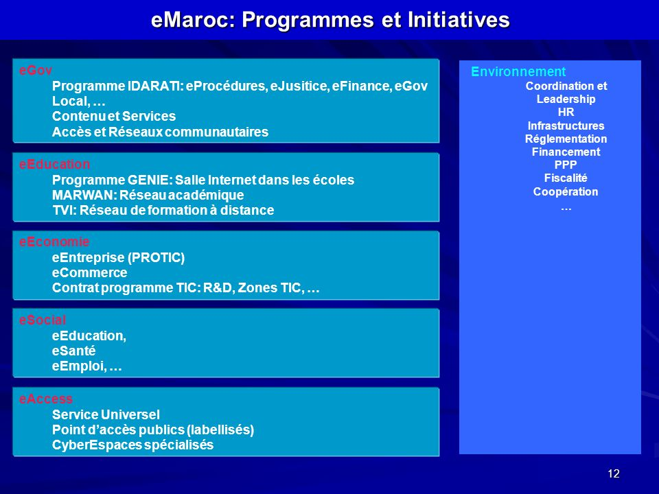 eMaroc: Programmes et Initiatives Coordination et Leadership