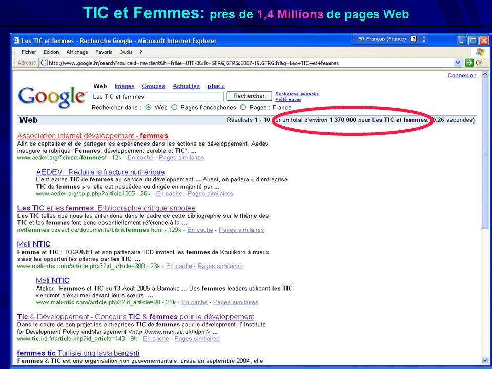 TIC et Femmes: près de 1,4 Millions de pages Web