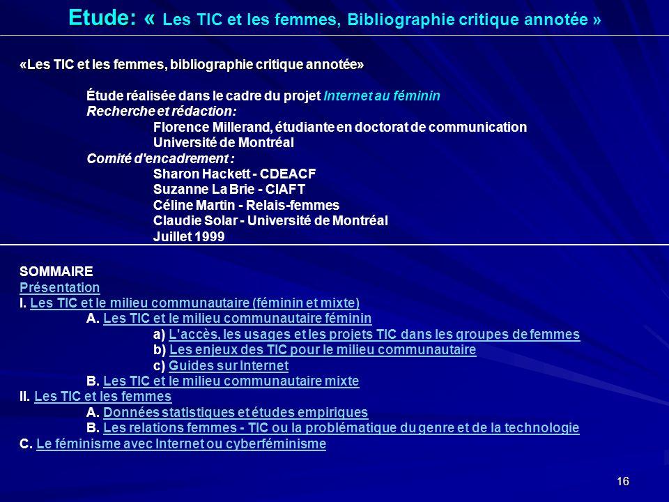 Etude: « Les TIC et les femmes, Bibliographie critique annotée »