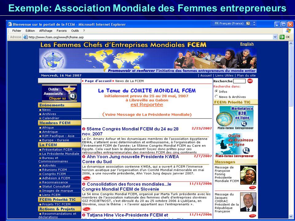 Exemple: Association Mondiale des Femmes entrepreneurs