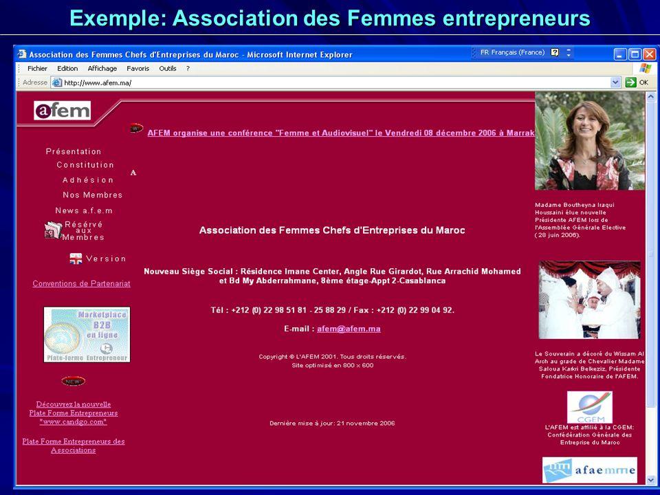 Exemple: Association des Femmes entrepreneurs