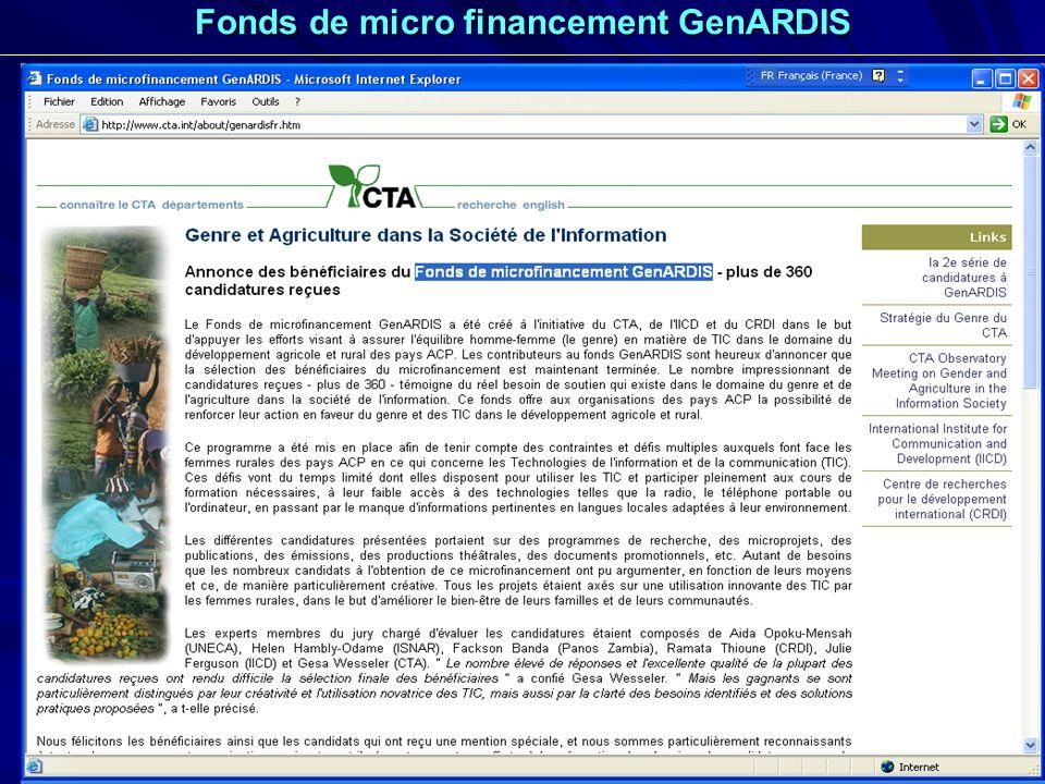 Fonds de micro financement GenARDIS
