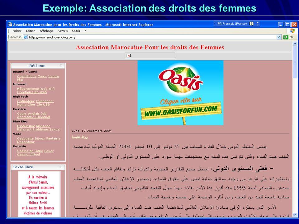 Exemple: Association des droits des femmes