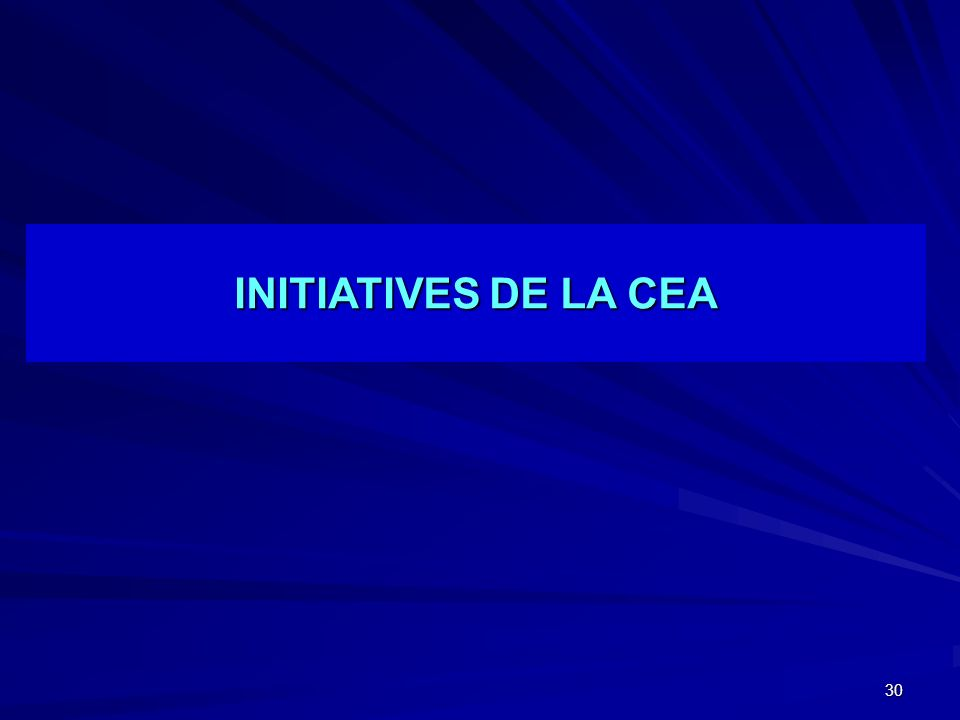INITIATIVES DE LA CEA