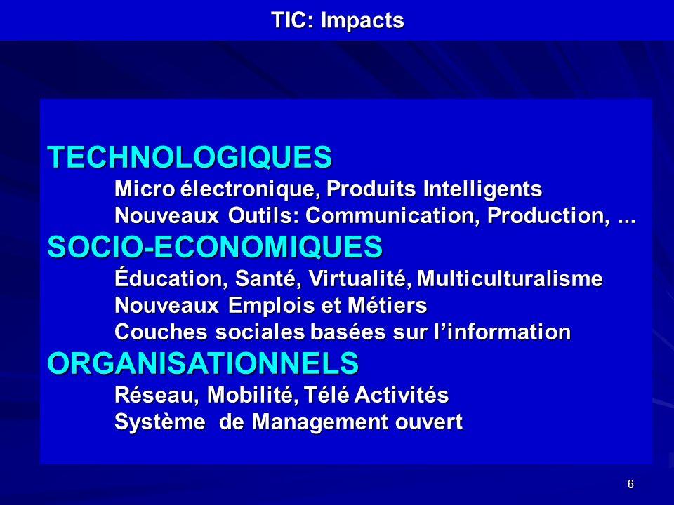 TECHNOLOGIQUES SOCIO-ECONOMIQUES ORGANISATIONNELS TIC: Impacts