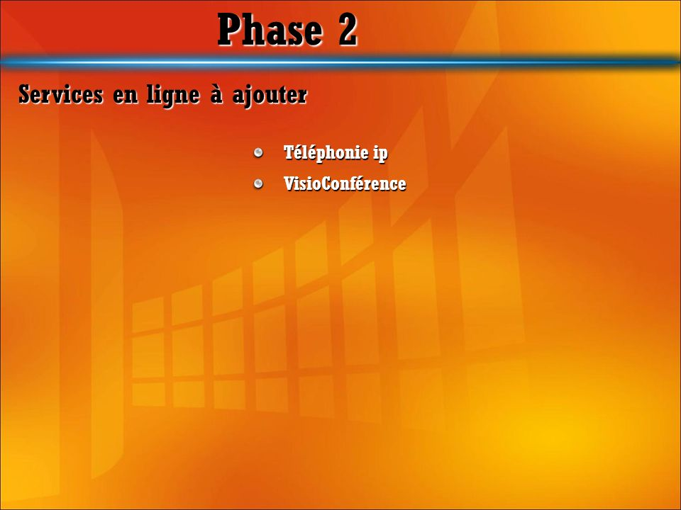 Phase 2 Services en ligne à ajouter Téléphonie ip VisioConférence