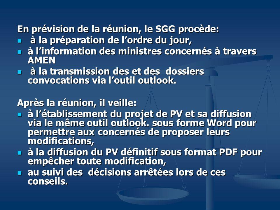 En prévision de la réunion, le SGG procède: