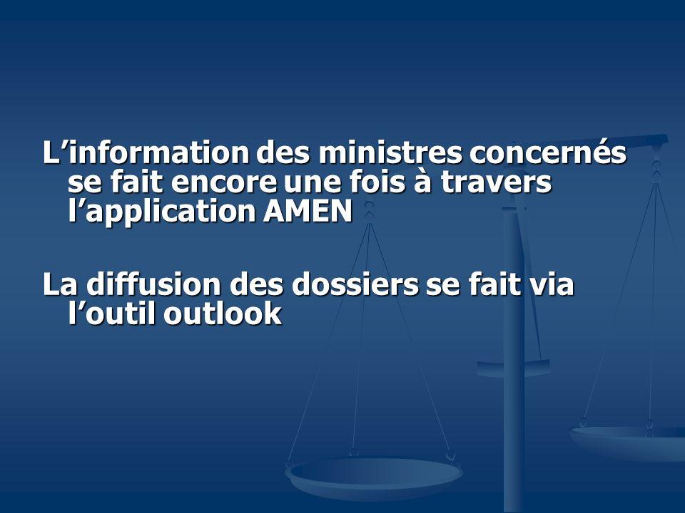 L'information des ministres concernés se fait encore une fois à travers l'application AMEN