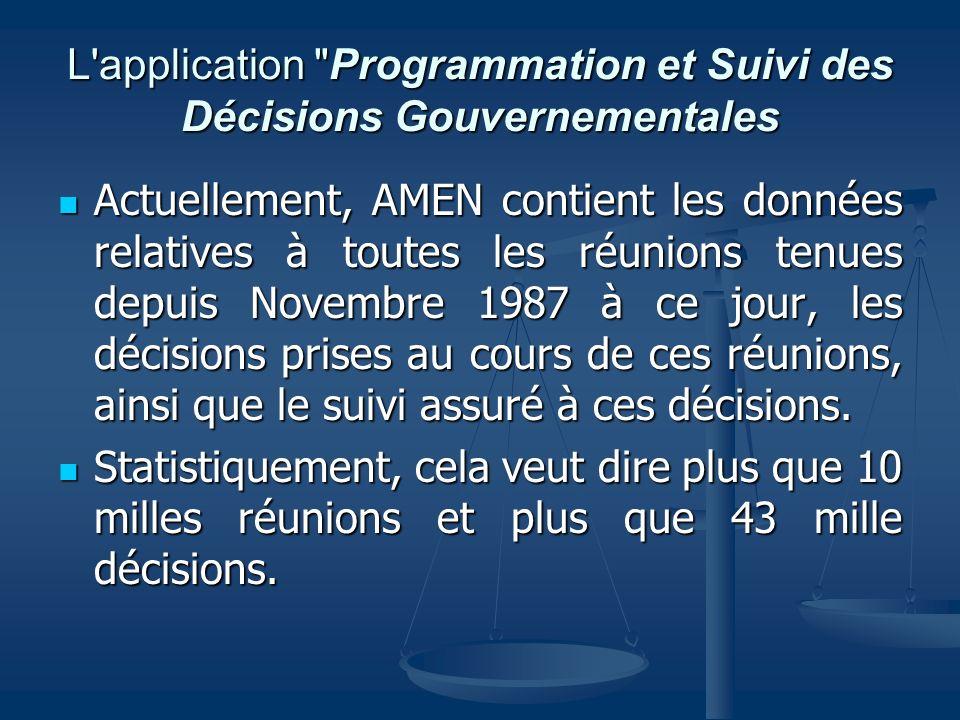 L application Programmation et Suivi des Décisions Gouvernementales