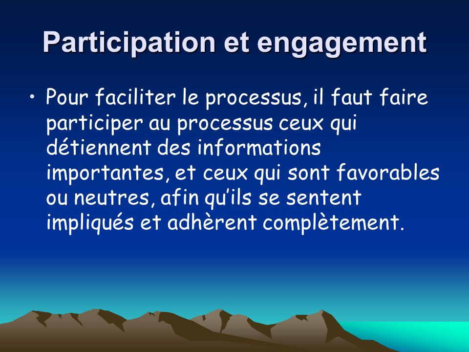 Participation et engagement