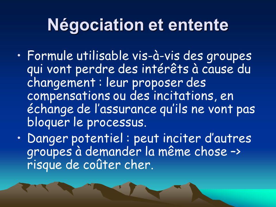 Négociation et entente
