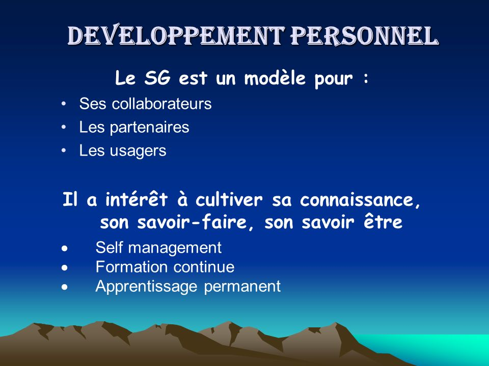 DEVELOPPEMENT PERSONNEL
