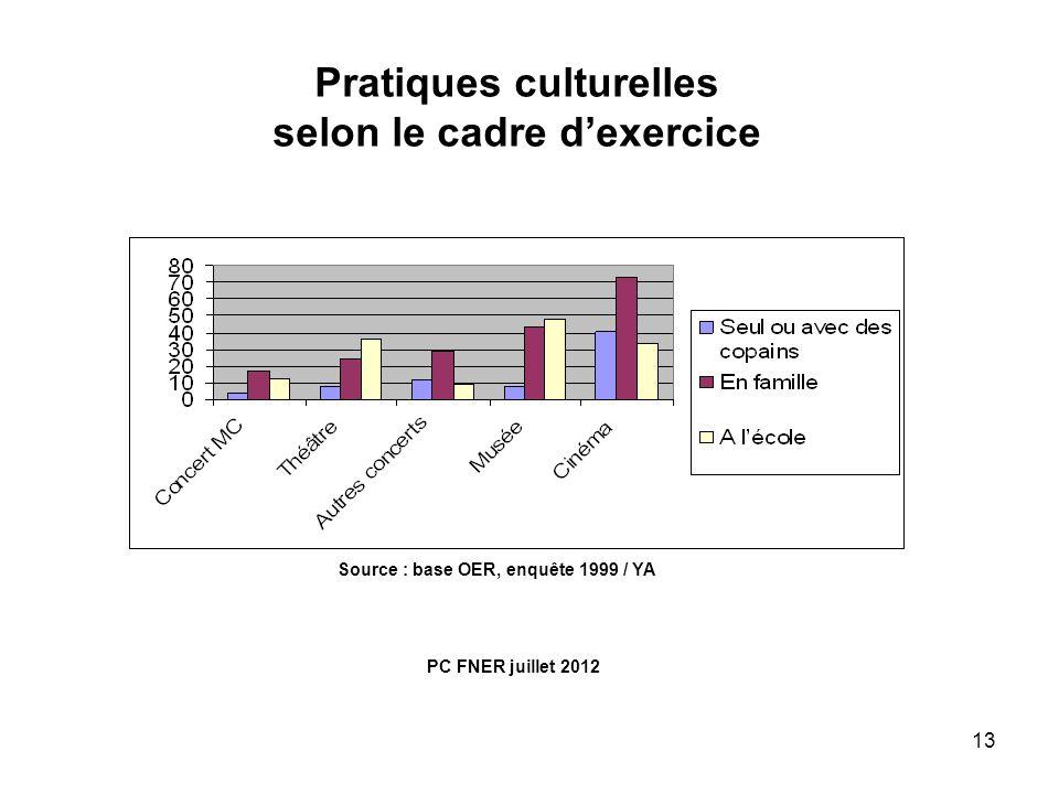 Pratiques culturelles selon le cadre d'exercice
