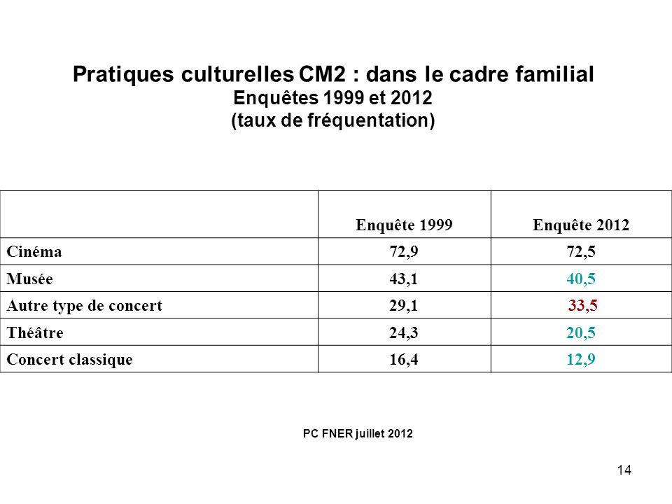 Pratiques culturelles CM2 : dans le cadre familial