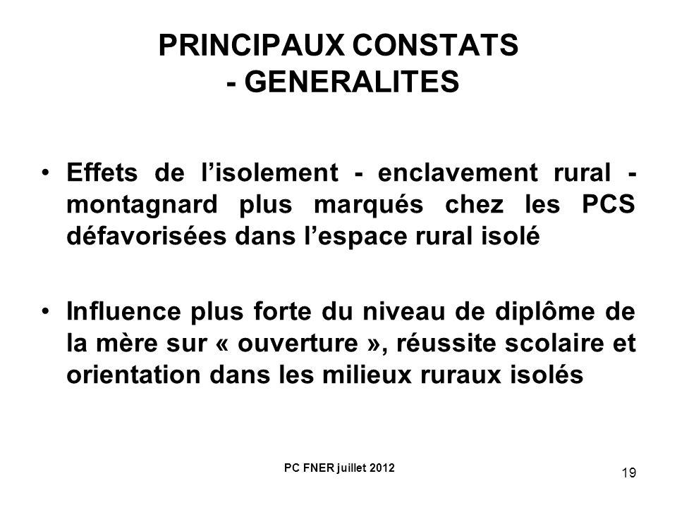 PRINCIPAUX CONSTATS - GENERALITES