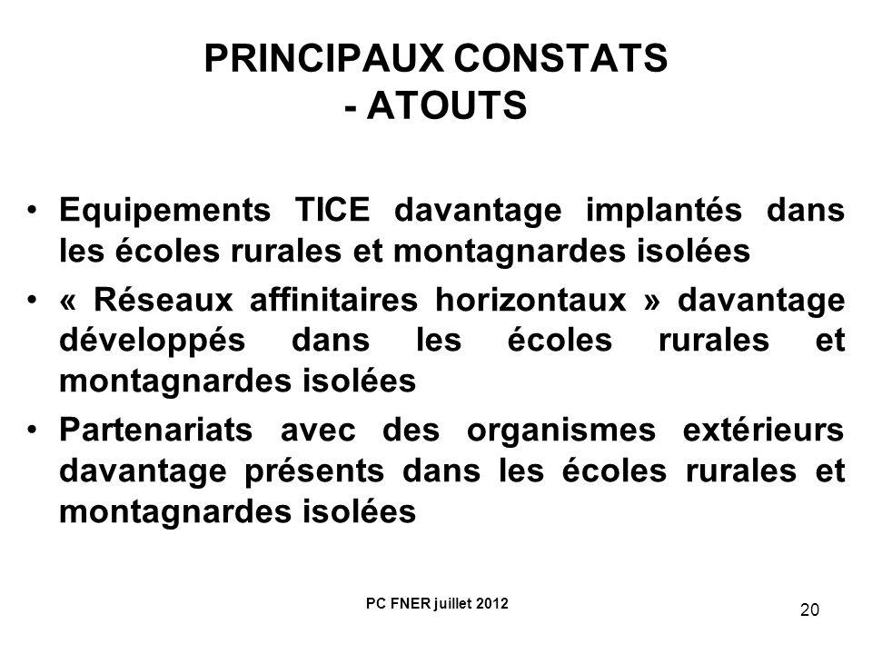 PRINCIPAUX CONSTATS - ATOUTS