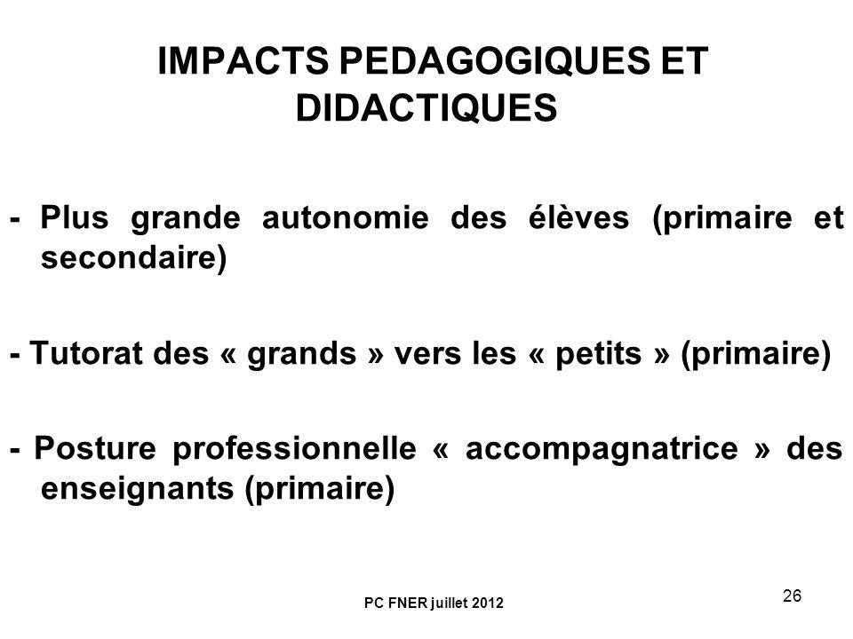 IMPACTS PEDAGOGIQUES ET DIDACTIQUES