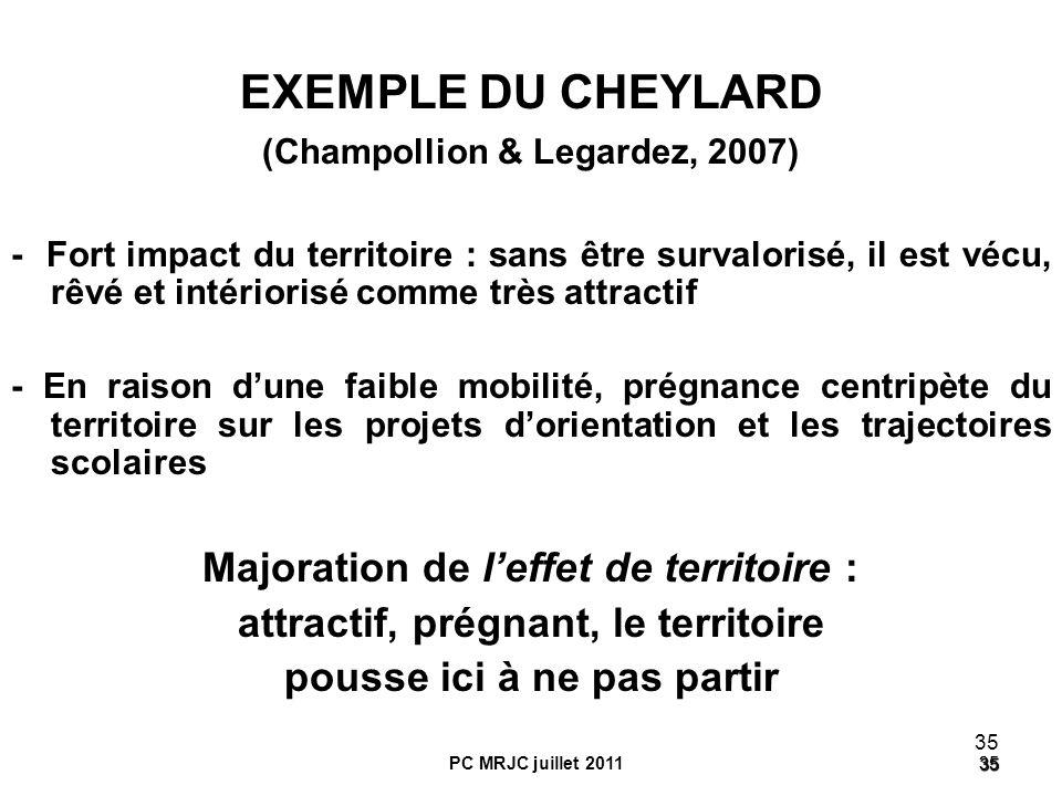 EXEMPLE DU CHEYLARD Majoration de l'effet de territoire :