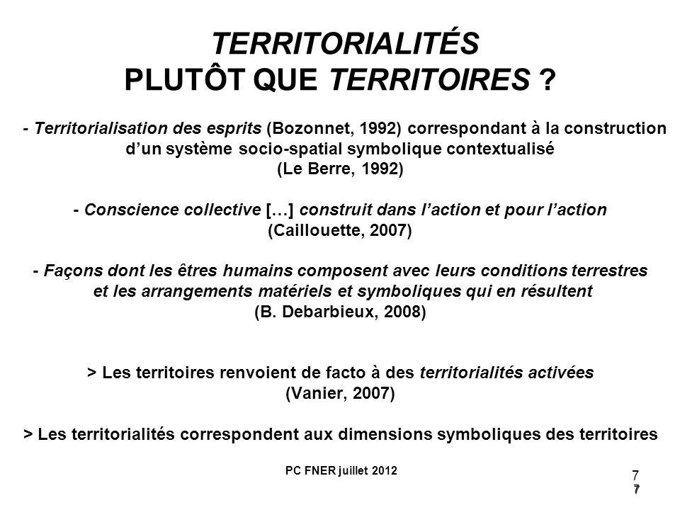 TERRITORIALITÉS PLUTÔT QUE TERRITOIRES