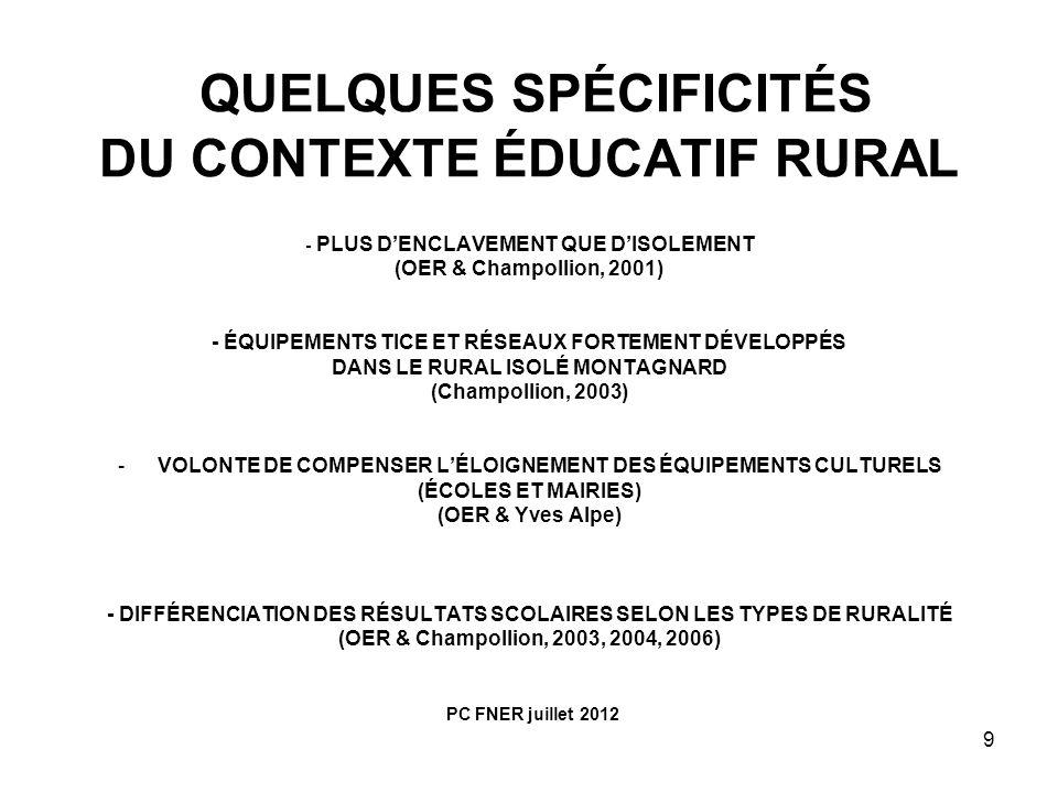 QUELQUES SPÉCIFICITÉS DU CONTEXTE ÉDUCATIF RURAL