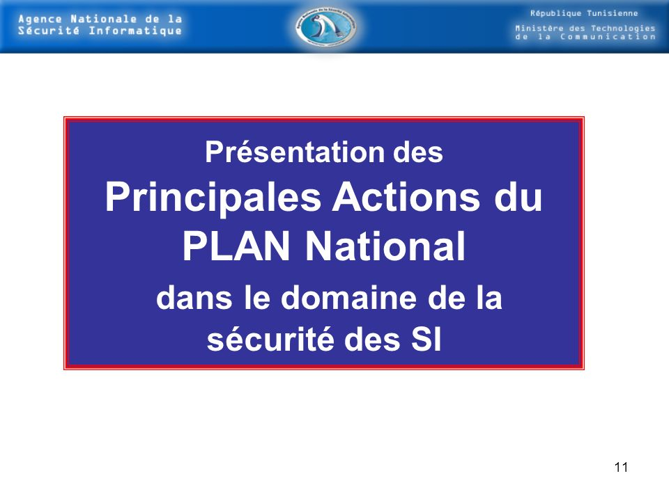 Principales Actions du PLAN National