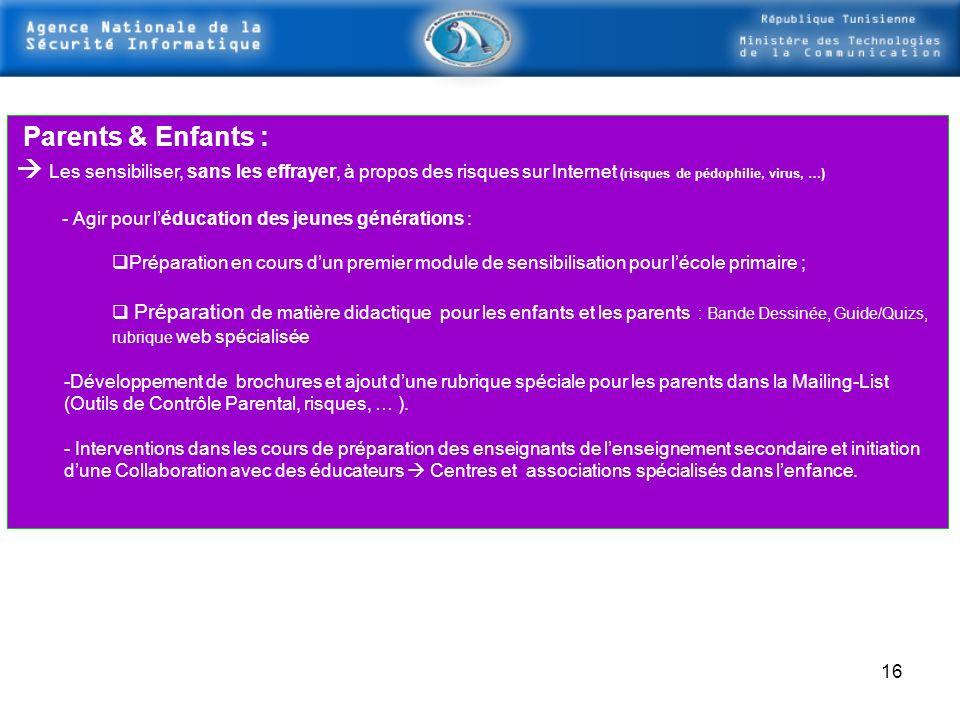 Parents & Enfants :  Les sensibiliser, sans les effrayer, à propos des risques sur Internet (risques de pédophilie, virus, …)
