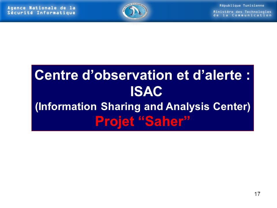 Centre d'observation et d'alerte : ISAC Projet Saher