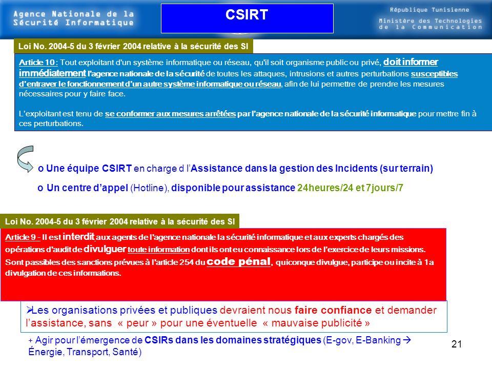 CSIRT Loi No. 2004-5 du 3 février 2004 relative à la sécurité des SI.