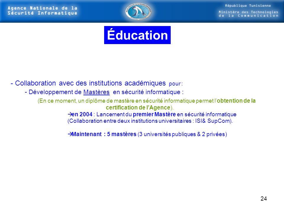 Éducation Collaboration avec des institutions académiques pour :