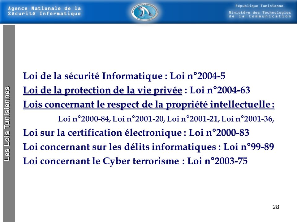 Loi de la sécurité Informatique : Loi n°2004-5
