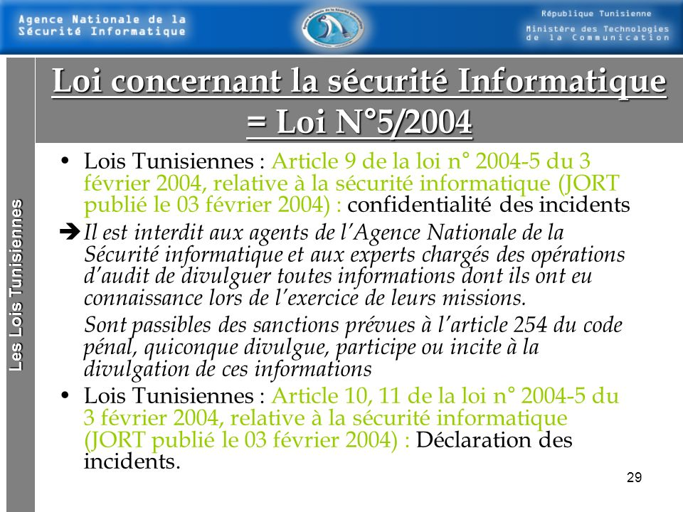 Loi concernant la sécurité Informatique = Loi N°5/2004