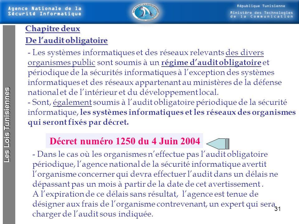 Décret numéro 1250 du 4 Juin 2004 Chapitre deux De l'audit obligatoire