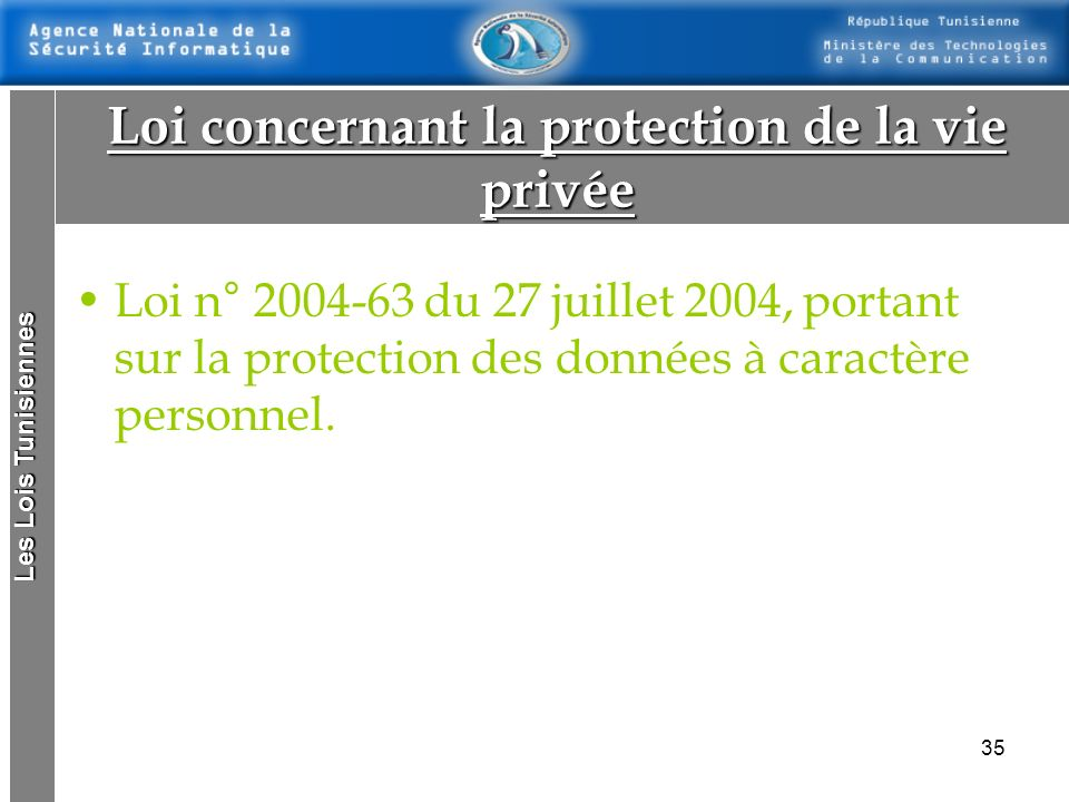 Loi concernant la protection de la vie privée