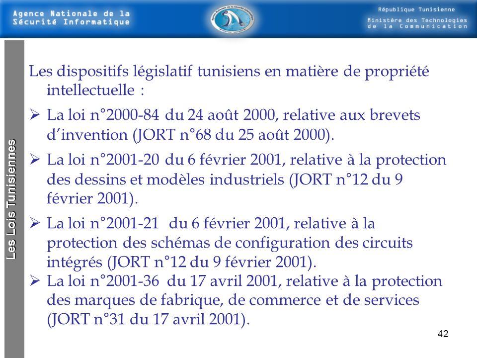 Les dispositifs législatif tunisiens en matière de propriété intellectuelle :