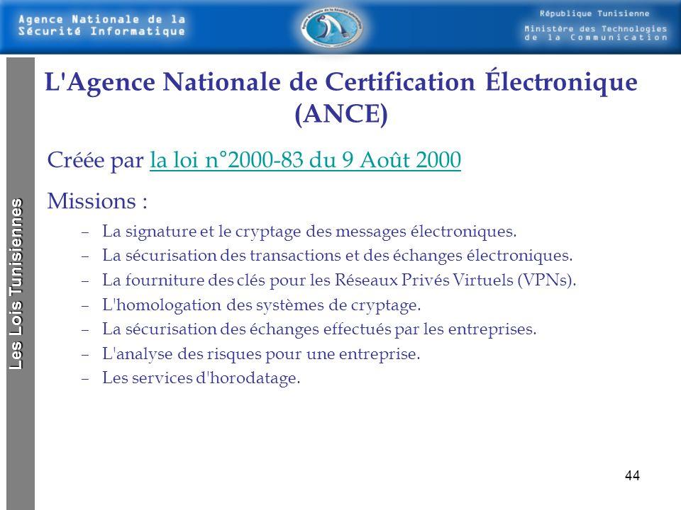 L Agence Nationale de Certification Électronique (ANCE)