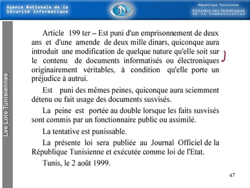 Les Lois Tunisiennes