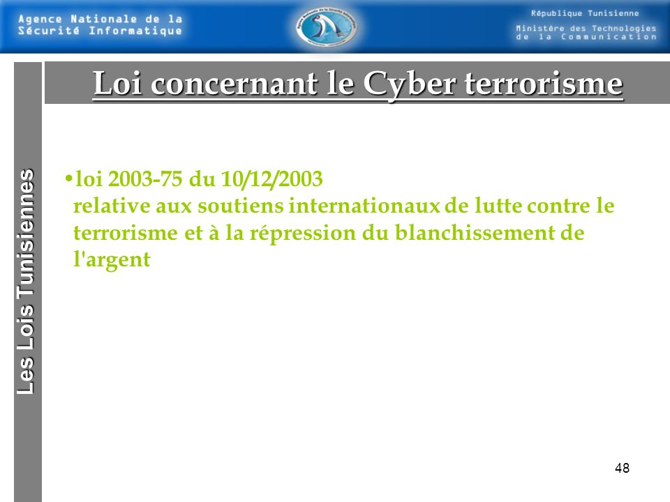 Loi concernant le Cyber terrorisme