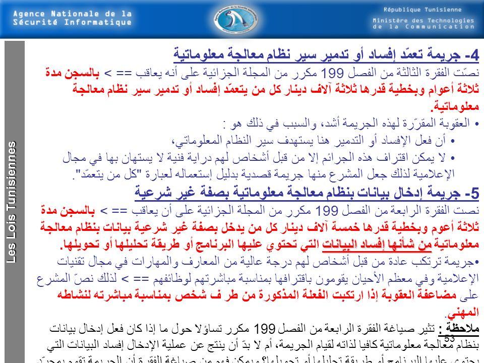 4- جريمة تعمّد إفساد أو تدمير سير نظام معالجة معلوماتية