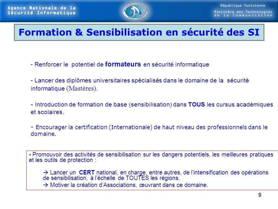 Formation & Sensibilisation en sécurité des SI