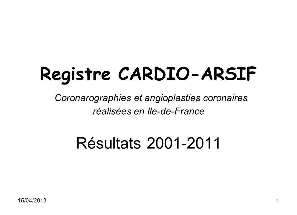 Registre CARDIO-ARSIF Coronarographies et angioplasties coronaires réalisées en Ile-de-France