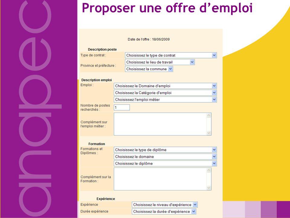 Proposer une offre d'emploi
