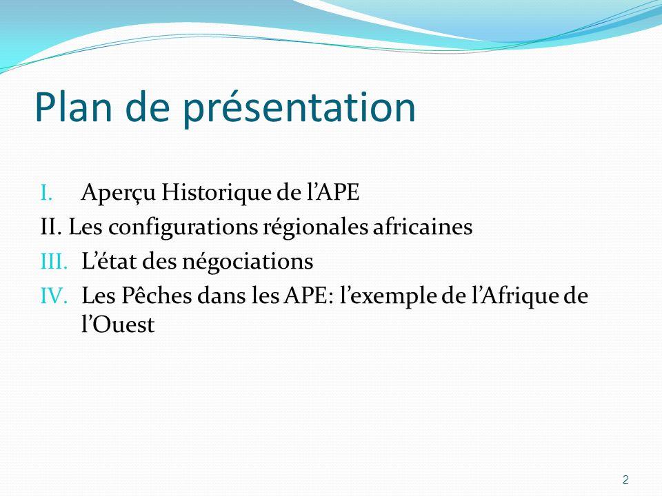 Plan de présentation Aperçu Historique de l'APE