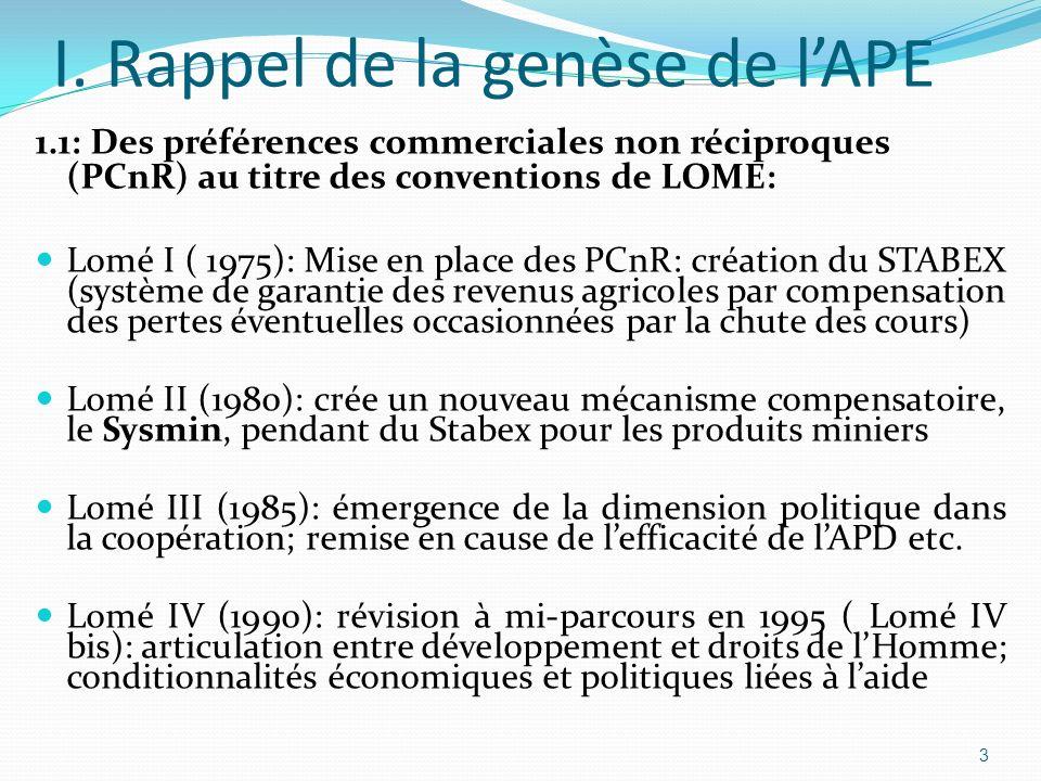I. Rappel de la genèse de l'APE