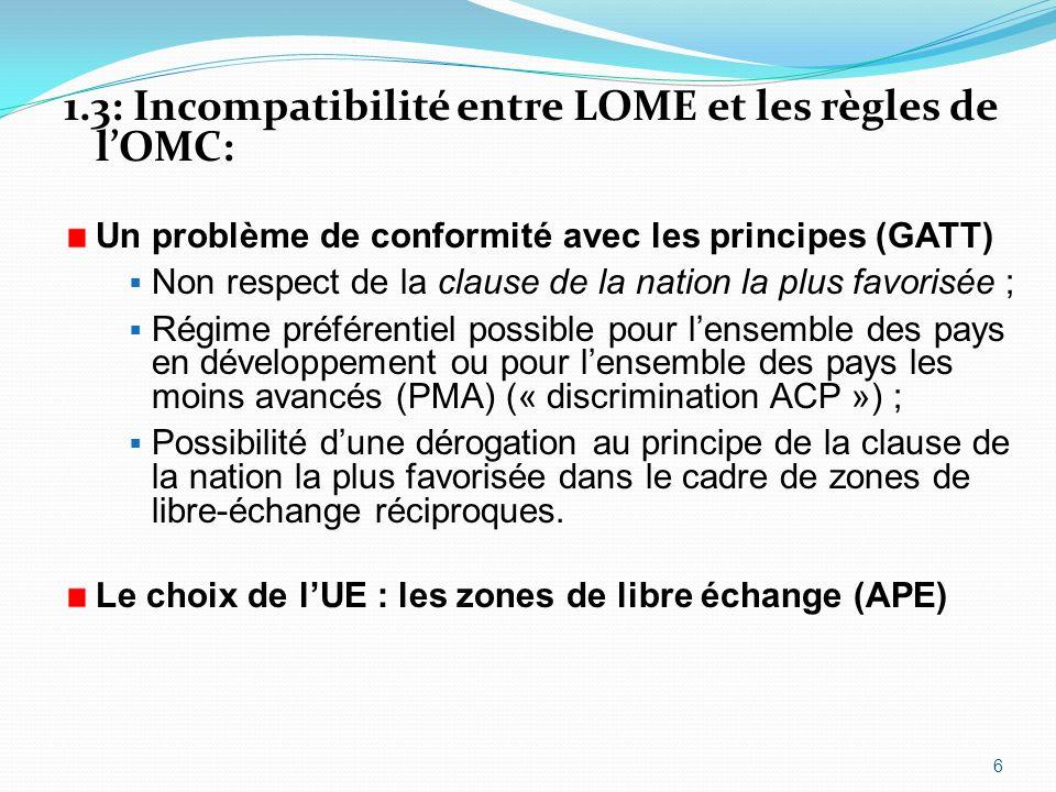 1.3: Incompatibilité entre LOME et les règles de l'OMC: