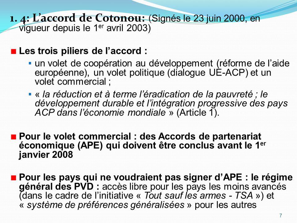 1. 4: L'accord de Cotonou: (Signés le 23 juin 2000, en vigueur depuis le 1er avril 2003)